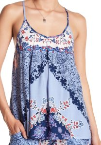 Green Dragon Scoop Neck Allover Print Back Tie Closure Sleeveless Back Keyhole Top Multi