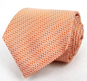 Gucci Orange Men's Woven Silk Neck with Wavy Pattern 344170 7577 Tie/Bowtie