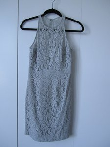 J.Crew Grey Viscose Cotton Pamela In Leavers Lace Traditional Bridesmaid/Mob Dress Size 0 (XS)