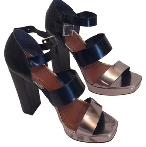Elizabeth and James Black and Metallic Silver Sandals