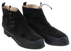 Manolo Blahnik Suede Leather Side Lace Rubber black Boots