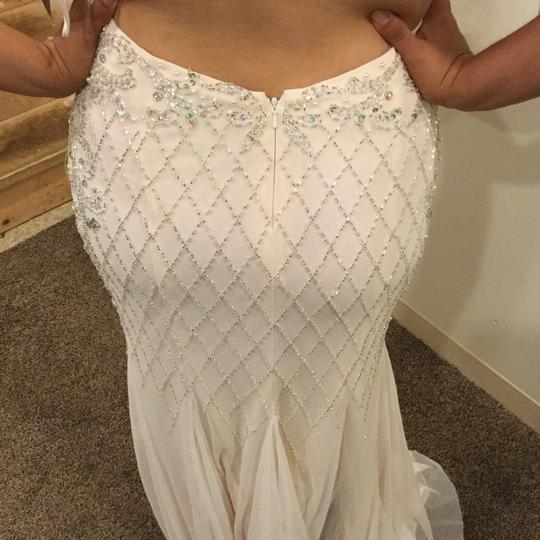 White Polyester Ultra-glam Floor-length Evening Gown By Sexy Wedding Dress Size 12 (L)