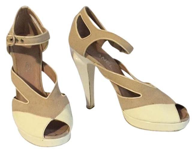 Chanel White/Beige Canvas/ Patent Leather Platforms Size EU 37.5 (Approx. US 7.5) Regular (M, B) Chanel White/Beige Canvas/ Patent Leather Platforms Size EU 37.5 (Approx. US 7.5) Regular (M, B) Image 1