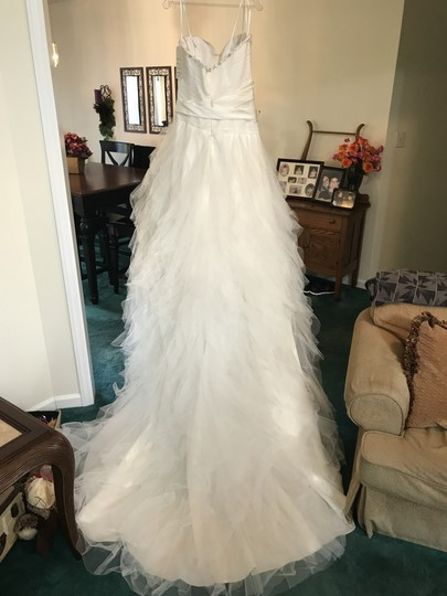 Jacquelin Exclusive Ivory Organza 19897 Formal Wedding Dress Size 14 (L)