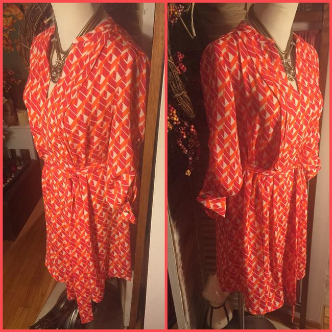 NWOT-SZ 4-BANANA REPUBLIC PINK/IRANGE RETRO PRINT BELTED SHIRT DRESS Dress