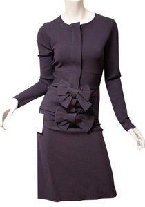 Valentino New Valentino Plum Bow Knit Fitted Suit Dress Size S