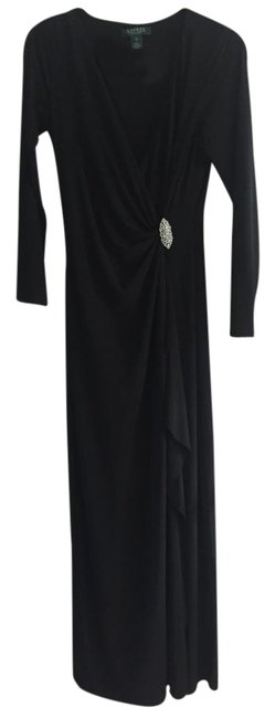 Preload https://img-static.tradesy.com/item/22183978/lauren-ralph-lauren-black-faux-wrap-gown-long-formal-dress-size-10-m-0-1-650-650.jpg