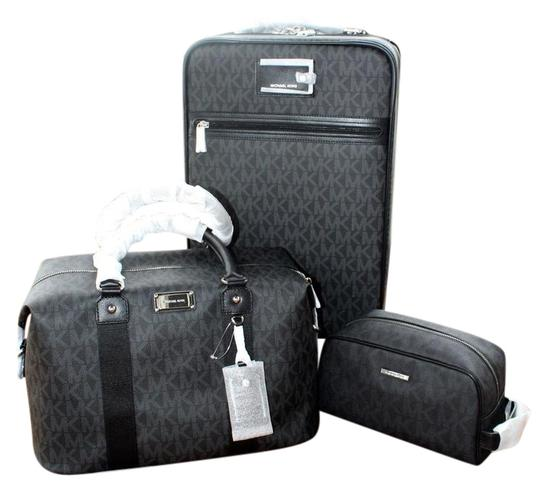 Preload https://img-static.tradesy.com/item/22184050/michael-kors-new-4-pc-suitcase-and-and-pouch-and-wallet-black-pvc-coated-canvas-weekendtravel-bag-0-1-540-540.jpg