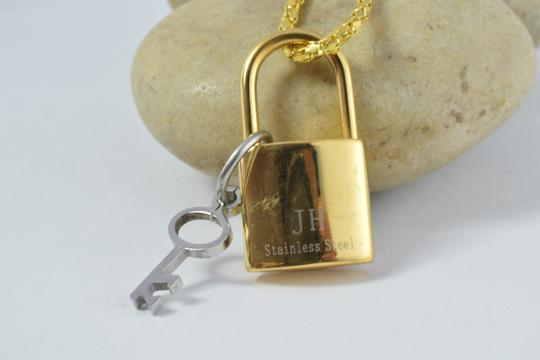 lbds Stainless Steel Lock and Key Gold Filled Pendant