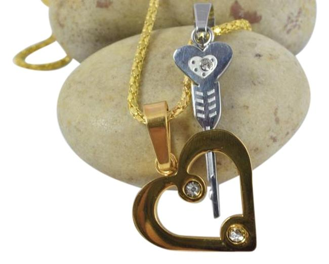 Gold Silver Through The Heart Key Stainless Steel Pendant Charm Gold Silver Through The Heart Key Stainless Steel Pendant Charm Image 1