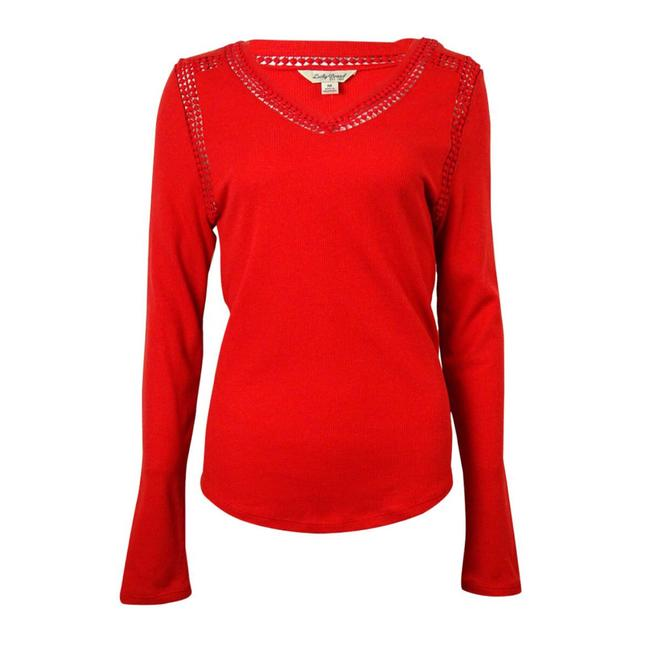 Preload https://img-static.tradesy.com/item/22184208/lucky-brand-red-lace-trim-sweaterpullover-size-0-xs-0-0-650-650.jpg