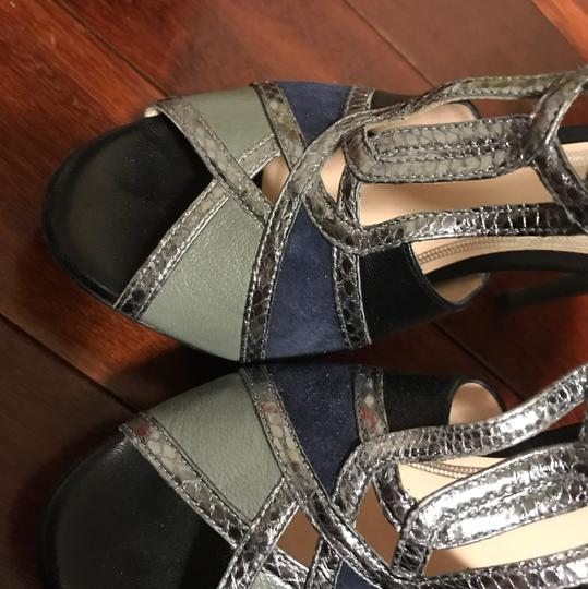 Elie Tahari silver, gray, blue and black. a combination of leather and suede Platforms