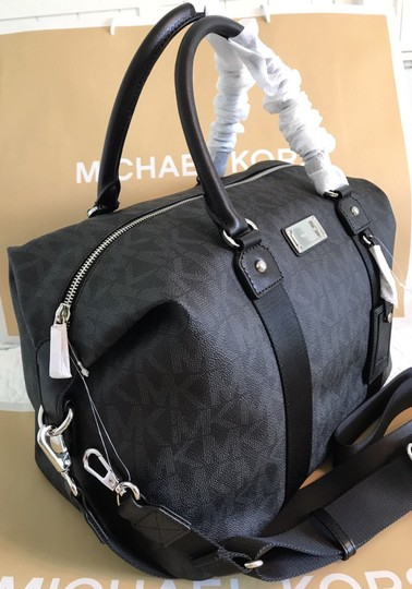 Michael Kors Mk Mk Suitcases Monogram Satchel Pouch Black Travel Bag
