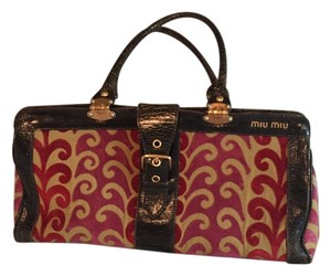 Miu Miu Satchel in Dark Brown Leather with Gold and Red Fabric