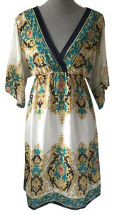 Boston Proper short dress White, Gold, Blue on Tradesy