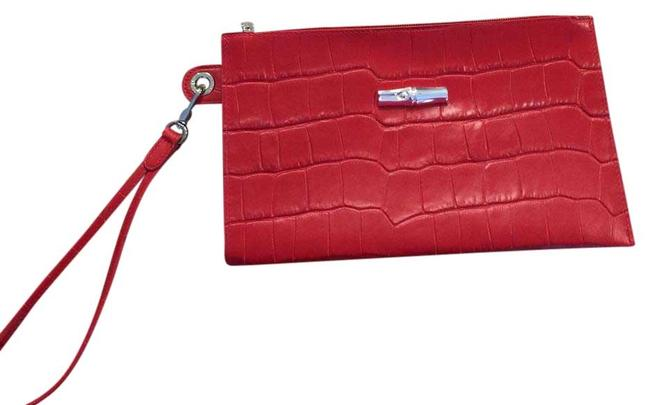 Longchamp Nwot Red Leather Clutch Image 1