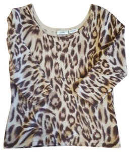 Neiman Marcus Print Cashmere Cashmire Top Tan & Brown