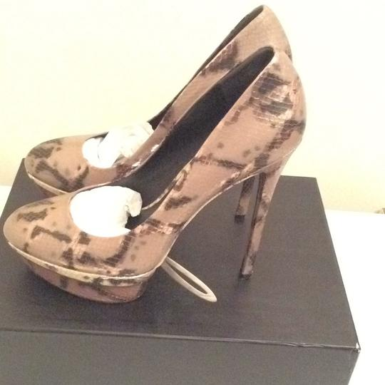 B Brian Atwood Pewter Leopard Print Platforms