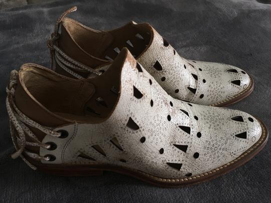 Musse & Cloud Laser Cut Brown Leather Beige Boots Image 1