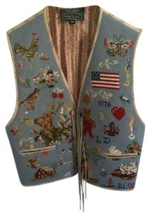 Ralph Lauren Needlepoint Polo Country Rare Collectors Western Boho Vest