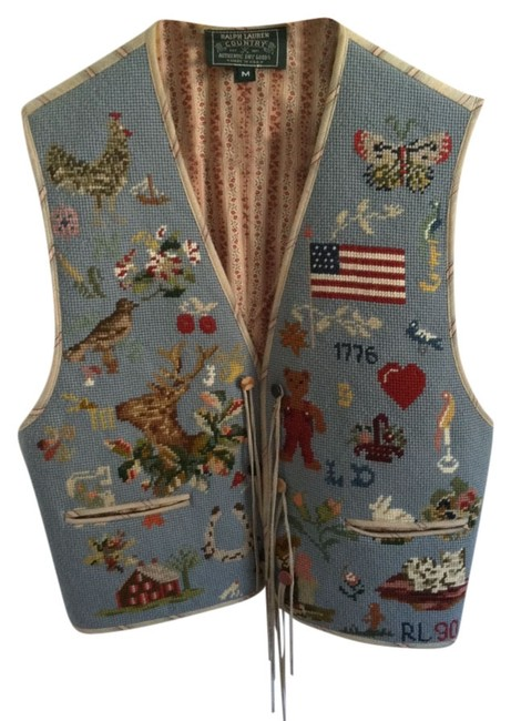 Preload https://img-static.tradesy.com/item/2218458/ralph-lauren-blue-multi-country-needlepoint-vest-size-os-one-size-0-0-650-650.jpg