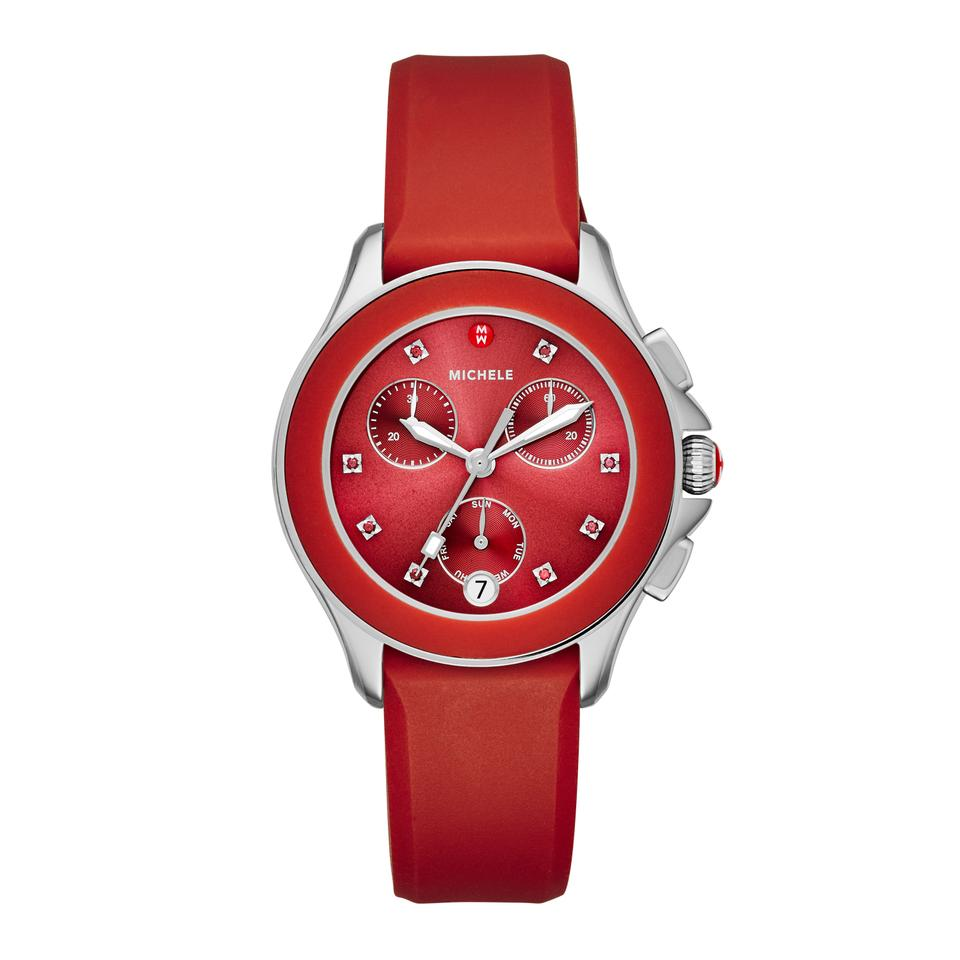 8b2d9325d Michele $400 NWT MICHELE ' Cape ' Chrono Red Sunray Dial watch MWW27C000004  Image 0 ...