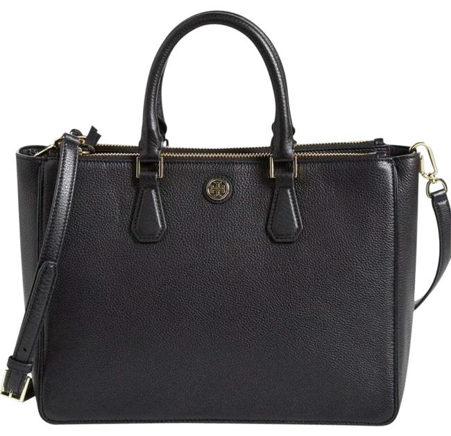 Tory Burch Robinson Large Black Leather Tote Tory Burch Robinson Large Black Leather Tote Image 1