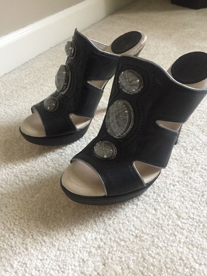 House of Harlow 1960 Leather Stones Black Mules