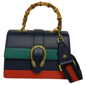 Gucci New Bamboo Dionysus Leather Satchel in navy