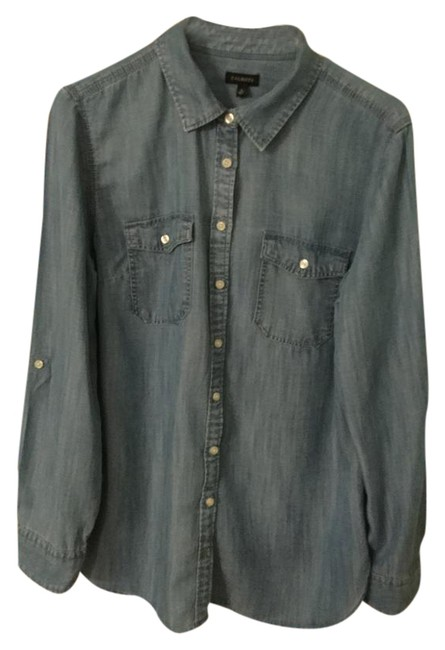 Talbots Denim Medium Wash Button Down Shirt Blue