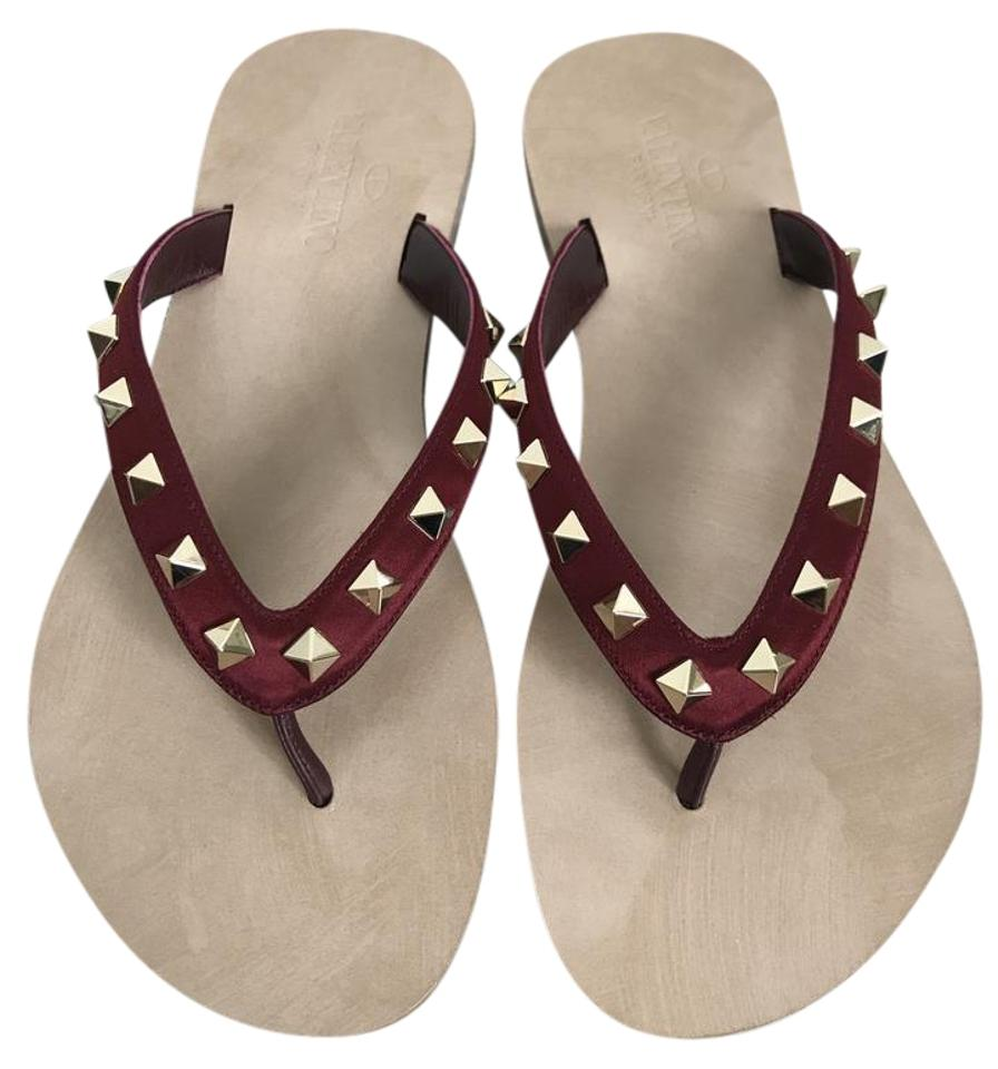 valentino rockstud satin thong flip flop flat dark red sandals on tradesy. Black Bedroom Furniture Sets. Home Design Ideas