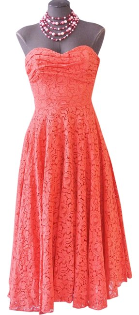 Preload https://img-static.tradesy.com/item/22184728/coral-sweetheart-strapless-venice-lace-mid-length-formal-dress-size-2-xs-0-1-650-650.jpg