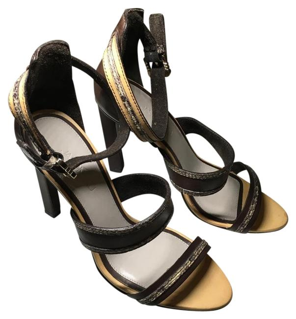 Jason Wu Brown Tan Snakeskin Embossed Leather Raquel Brown/Tan Sandals Formal Shoes Size EU 36 (Approx. US 6) Narrow (Aa, N) Image 1