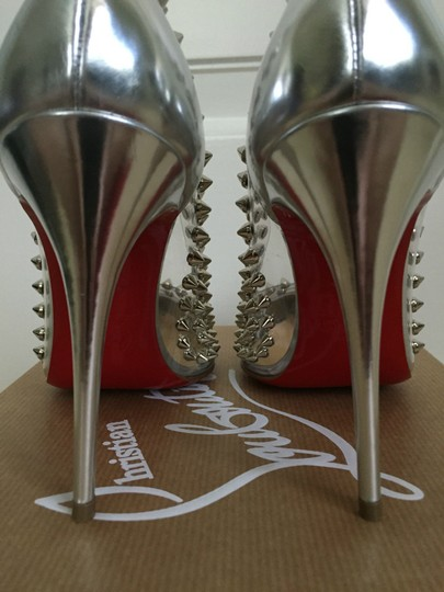 Christian Louboutin Pvc Leather Spikes Pointed Toe Silver Pumps