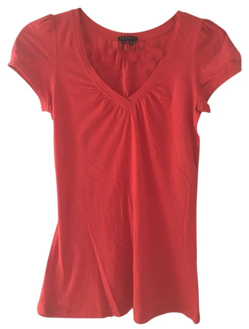 Theory Red Orange V-neck Tee Shirt Size 4 (S) Theory Red Orange V-neck Tee Shirt Size 4 (S) Image 1