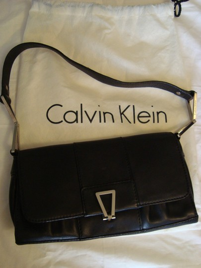 Calvin Klein Leather Geometric Silver Buckle Shoulder Bag Image 10