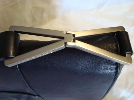 Calvin Klein Leather Geometric Silver Buckle Shoulder Bag Image 3