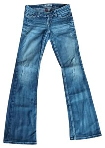 BKE Stretchy Distressed Monogram Comfortable Boot Cut Jeans-Medium Wash