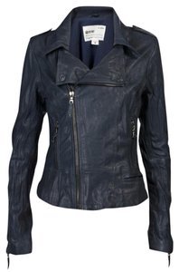 Ever Motorcycle Blue Leather Jacket