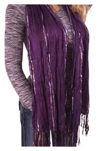 Other Purple Silver Tassel Scarf