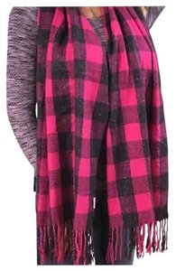 Other Pink Gray Plaid Tassel Scarf
