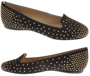 Enzo Angiolini Enzo Black with gold studs Flats