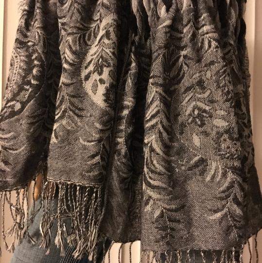 Coldwater Creek Oversized Black and Gray Tassel Scarf