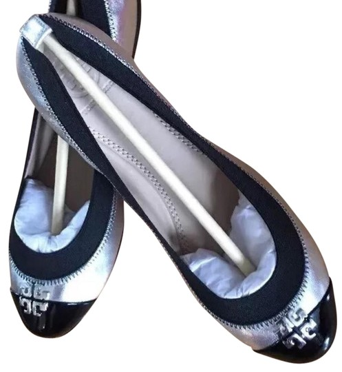 Tory Burch Silver Metallic Leather Flats