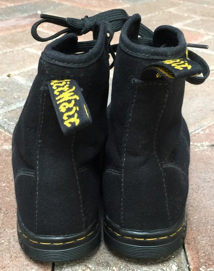 Dr. Martens Sneaker Stitching Lace Up Canvas Black Boots