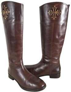 Tory Burch Logo Hardware T Logo Medallion Zipper At Side Logo Fabric Lining Imported Almond Boots