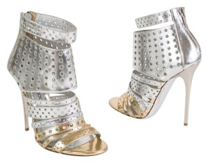 Jimmy Choo Italy Perforated Metallic Silver & Gold Sandals