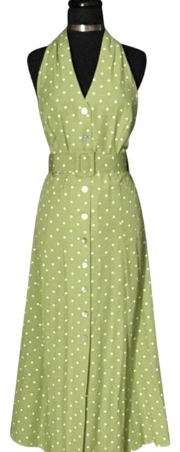 Preload https://item1.tradesy.com/images/sheri-martin-green-and-white-polka-dot-long-workoffice-dress-size-10-m-22185985-0-1.jpg?width=400&height=650