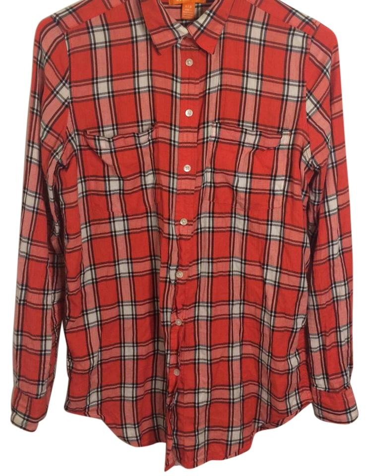 5233b50ee Joe Fresh Red Flannel Button-down Top Size 4 (S) - Tradesy