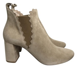 Chlo Chloe Suede Ankle Scalloped Chunky Heel Tan Boots